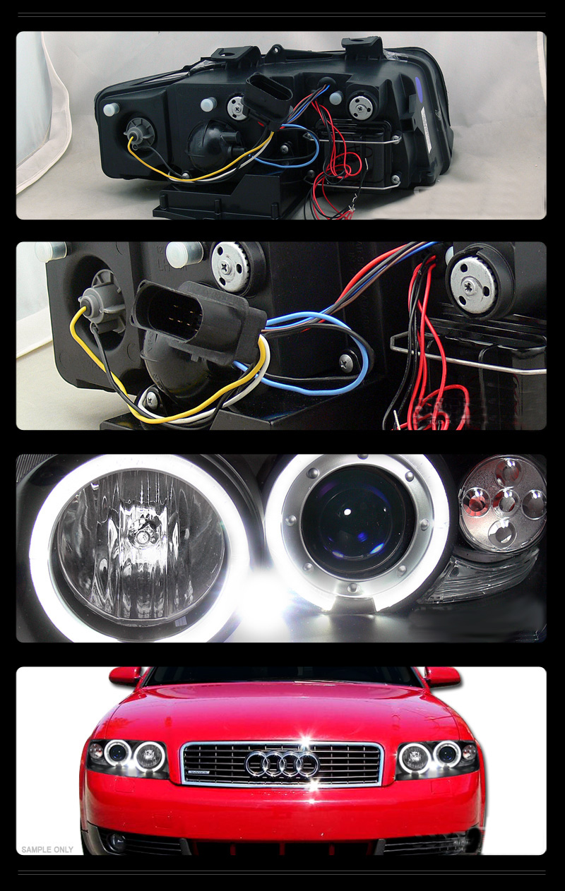 2002 2005 Audi A4 Dual Angel Eye Halo Amp Led Projector