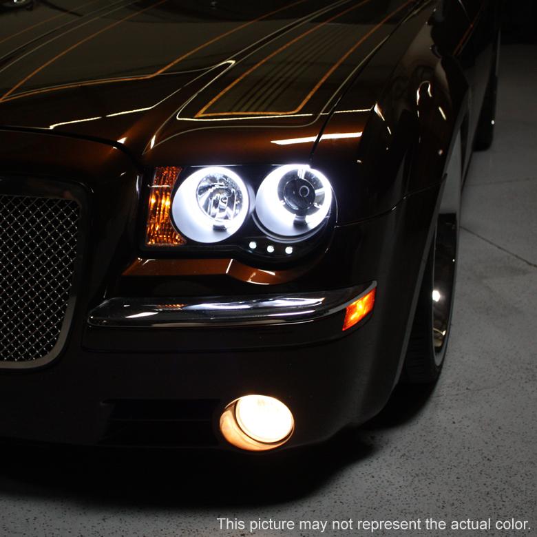 05 10 Chrysler 300c Dual Halo Amp Led Projector Headlights